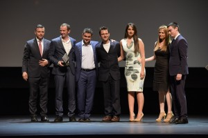 On stage with the Top 10 finalists award
